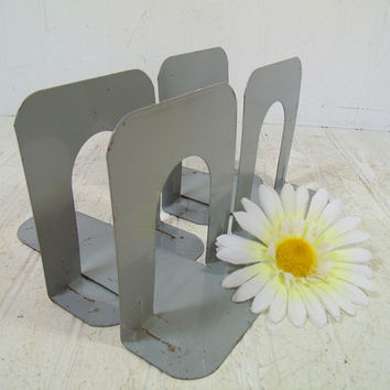 Metal Book Ends Sets of 2 - Mid Century Office & Library Decor Collection of 4 Bookends - Vintage Office Supplies Industrial Gray Book Ends