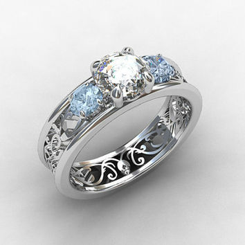 White sapphire ring, aquamarine engagement, filigree ring, trinity ring, engagement, blue, lace ring, wedding ring