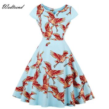 Wedtrend Summer Vintage Dresses Print Floral 1950s Style Elegant Party Dress Wild Goose Short Sleeves Luxury Cheap Retro Dresses