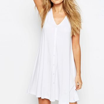 ASOS Sleeveless Swing Dress With Button Front