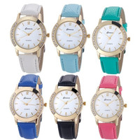 1PC Women Fashion Diamond Analog Watch Leather Quartz Wrist Watch Casual Watches = 1932009092