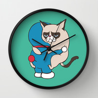 Cat Hugs Wall Clock by Huebucket