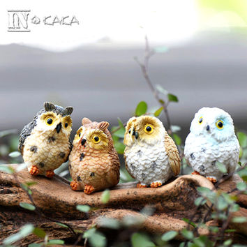 3/4pcs micro mini fairy garden miniatures figurines Owl birds animal Action Figure Toys ornament terrarium accessories props