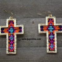 Aztec Beaded Cross Earrings in Purple and Gold