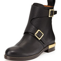 Double-Buckled Leather Ankle Boot, Black - Chloe - Black