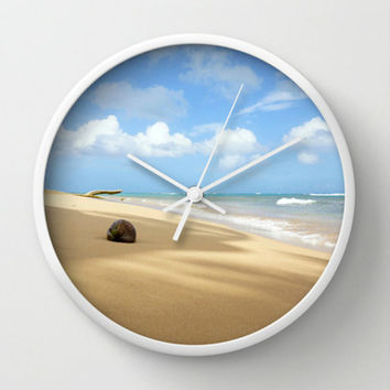 Unique Wall Clock - Beach Photography Wall Clock - Customizable Round Beach Home Decor Wall Clock