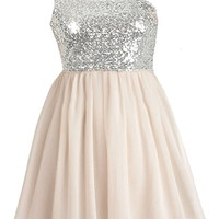 Sparkling Champagne Dress | Silver Sequin One-Shoulder Dresses | Rickety Rack