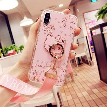 For iPhone X 6 6s plus case for iphone 7 plus bing hello kitty Diamond back Case For iPhone7 7plus cover jewelled finger ring