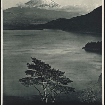 "c.1930s ""Japan with Mt. Fuji B&W"" Travel Poster-Antique-Old-Vintage Reproduction Photograph/Photo: Gicclee Print. Frame it!"