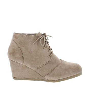 Lace Up Wedge Bootie (TAUPE)