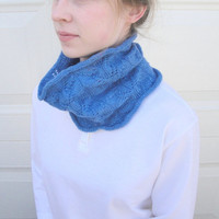 Organic Merino Cowl Scarf, Knitted, Leaf Lace, Gorgeous Blue Mother's Day Gift