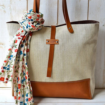 Eco friendly ORGANIC LINEN Medium  French  tote bag  with Brown Leather strap / Market tote Bag