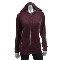 Style & Co. Womens Velour Hooded Basic Jacket