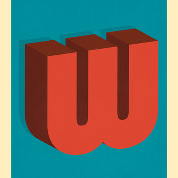 The Letter W, Original Giclee Art Print, Typography, Alphabet, Monogram, Red Orange, Burgundy, Blue