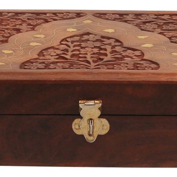 Benzara Handcrafted Floral Carving Jewelry Storage Box/Trinket Box, Brown