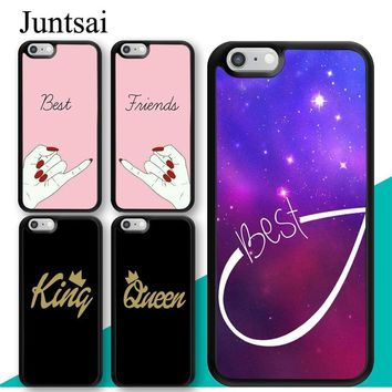 Cool Juntsai BFF Best Friend Forever King Queen For iPhone 6 6s Plus Case Soft TPU Back Shell For iPhone X 7 8 Plus 5 5s Phone CoverAT_93_12