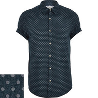 River Island MensDark green polka dot short sleeve shirt