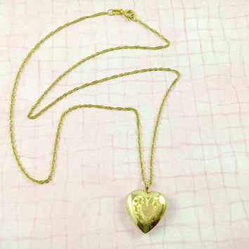 Vintage 14k Heart Locket Pendant Necklace 18 inch Chain Excellent Unworn Condition Very Giftable Easter Mothers Day Birthday Adult or Child