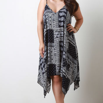 Trapeze Handkerchief Hem Maxi Dress