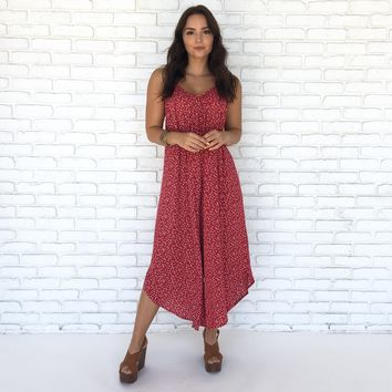Petal Party Jumpsuit in Red