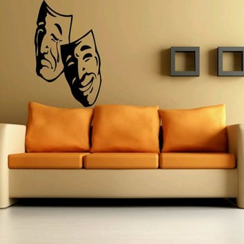 Wall Decor Vinyl Sticker Room Decal Art Drama Comedy Theater Mask Sadness Happiness 587