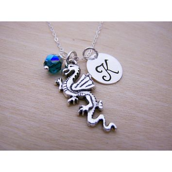 Dragon Charm Swarovski Birthstone Initial Personalized Sterling 3a0aed1cbc