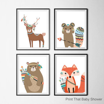Tribal Animals Nursery Print - Set of 4 - Kids Wall Art - Printable Nursery Wall Art - Kids Art Print - Tribal Woodland Nursery Art