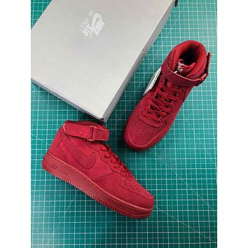 Nike Air Force 1 Mid Af1 07 Red Suede Sport Shoes - Sale