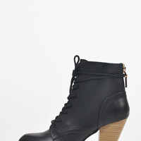 Stitched Laced Up Booties - 10