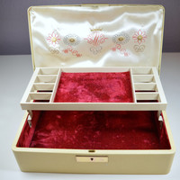 Vintage Farrington Jewelry Box Ivory Fashioned by Farrington Made In U.S.A. Genuine Texol Flowers and Crown Design Vintage Case