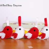 Felt Birds. Red and White Felt birds.  Set of 4 felt birds ornaments.
