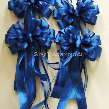 Royal Blue Wedding pew Bow Blue Wedding Church Aisle Decoration Cobalt Ceremony Chair Bow Cobalt blue Wedding Church Aisle Ceremony Bow