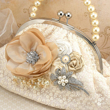 Bridal Clutch- Vintage Inspired Purse in Cream, Champagne and Ivory with Lace, Brooch, Pearls and Crystals