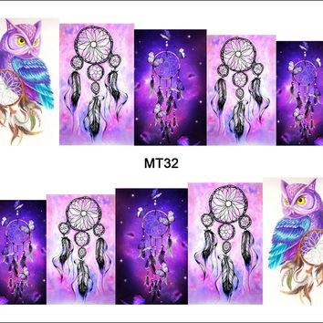 1 Sheet Nail MT32 Full Cover Dream Catcher Owl POP Nail Art Water Transfer Sticker Decal For Nail Art Tattoo DIY Nail Tool