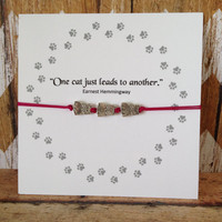 Triple Cat Bracelet, Friendship Bracelet, Hemmingway Quote