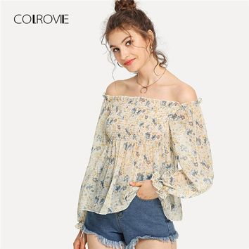 COLROVIE Shirred Detail Floral Bardot Chiffon Top 2018 New Floral Vacation Blouse Shirt Summer Female Blouse Slim Women Blouse