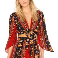 Band of Gypsies Bohemian Tie Front Blouse in Rust & Navy