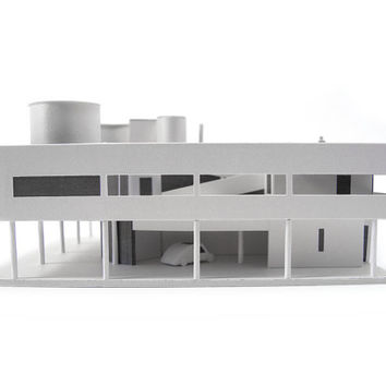Villa Savoye, craft kit for making an architectural model of Le Corbusier's modernist villa || scale 1/200 || white or white & silver
