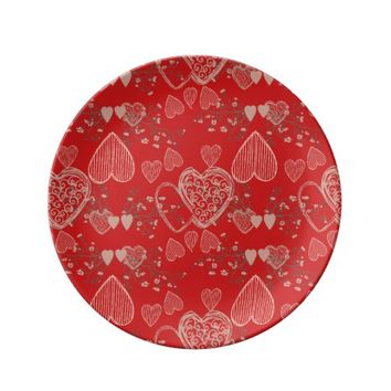 Vibrant ruby red grey and white Valentine hearts Dinner Plate