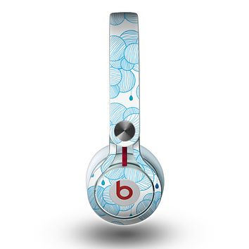 The White and Blue Raining Yarn Clouds Skin for the Beats by Dre Mixr Headphones