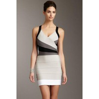 White Black And Gray Party Bandage Dress LAVELIQ