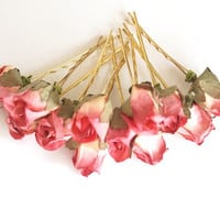 Bridal Hair Accessories, Pink Rose, Pink flower Hair Bobby Pin, Brass Bobby pin- set 12