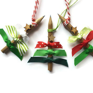 Christmas Tree Decorations set of 3 Pencil tree ornaments with Red White and Green Ribbon and Rustic wooden Star Recycled Gift Idea