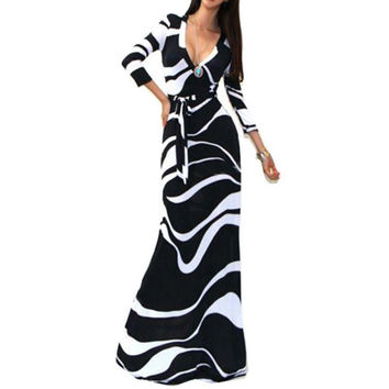 Sexy Women Package Bodycon Maxi Dress V-neck Long Sleeve Printed Long Casual Dresses SM6