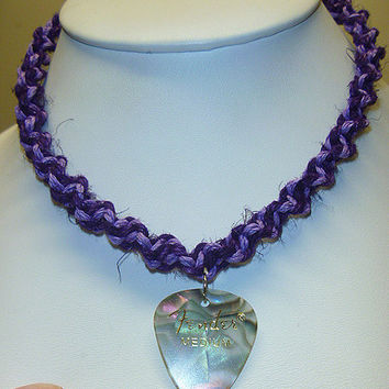 Purple and Lilac Fender Guitar Pick Hemp Necklace