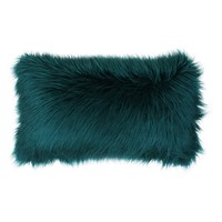 Designer Teal Mongolian Fur Throw Pillow