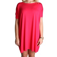 Fuchsia Piko Tunic Short Sleeve Dress