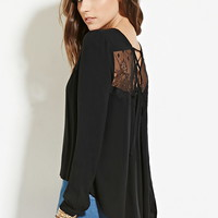Lace-Paneled Lace-Up Top