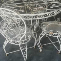 Wrought iron patio set ornate vintage table and 4 arm chairs white metal patina mid century outdoor furniture antique scroll curly steel