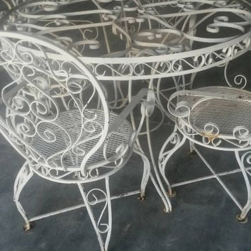 Wrought Iron Patio Set Ornate Vintage Table And 4 Arm Chairs Whi